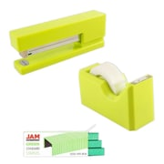 JAM Paper® Office & Desk Sets, (1) Tape Dispenser (1) Stapler (1) Pack of Staples, Lime Green and Green, 3/pack