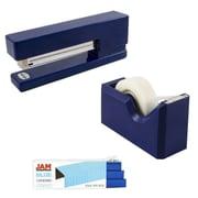 JAM Paper® Office & Desk Sets, (1) Tape Dispenser (1) Stapler (1) Pack of Staples, Navy and Blue, 3/pack