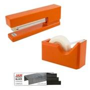 JAM Paper® Office & Desk Sets, (1) Tape Dispenser (1) Stapler (1) Pack of Staples, Orange and Black, 3/pack