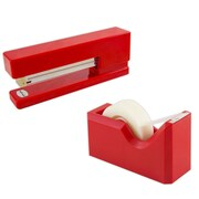 JAM Paper® Office & Desk Sets, (1) Stapler (1) Tape Dispenser, Red, 2/pack