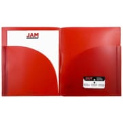 JAM Paper® Plastic Expansion Two Pocket Folders, Red, 6/pack