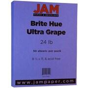 JAM Paper® Brite Color Paper, 8.5 x 11, 24 lb Brite Hue Ultra Grape, 50/pack