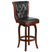 30'' High Cherry Wood Barstool with Black Leather Swivel Seat [TA-240130-CHY-GG]