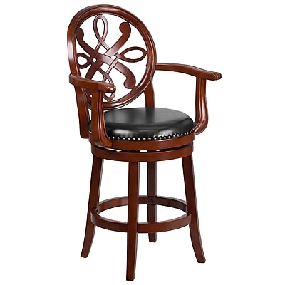 26'' High Cherry Wood Counter Height Stool with Arms and Black Leather Swivel Seat (TA-550226-CHY-GG)