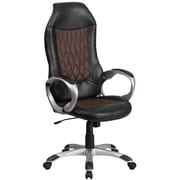 High Back Brown Fabric and Black Vinyl Executive Swivel Office Chair [CH-CX0906H-GG]