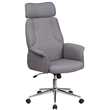 High Back Grey Fabric Executive Swivel Office Chair With Chrome Base CH CX09