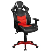High Back Red Vinyl Executive Swivel Office Chair with Inner Coil Spring Comfort Seat and Red Base [CP-B331A01-RED-GG]
