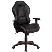 High Back Brown Vinyl Executive Swivel Office Chair with Inner Coil Spring Comfort Seat and Brown Base [CP-B329A02-BN-GG]