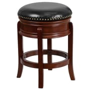 24'' Backless Light Cherry Wood Counter Height Stool with Black Leather Swivel Seat [TA-68824-LC-CTR-GG]