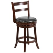 26'' Cappuccino Wood Counter Height Stool with Black Leather Swivel Seat [TA-16026-CA-GG]