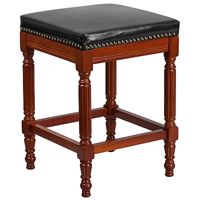 26'' High Backless Light Cherry Wood Counter Height Stool with Black Leather Seat (TA-4102A-26-LC-GG)
