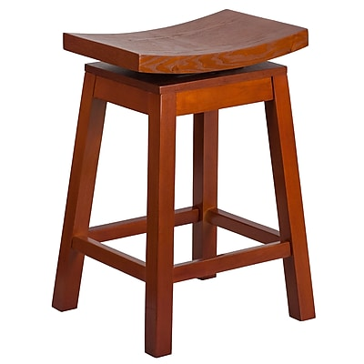 26'' High Saddle Seat Light Cherry Wood Counter Height Stool with Auto Swivel Seat Return (TA-SADDLE-LC-2-GG)