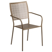 Gold Indoor-Outdoor Steel Patio Arm Chair with Square Back [CO-2-GD-GG]