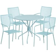 35.25'' Round Sky Blue Indoor-Outdoor Steel Patio Table Set with 4 Square Back Chairs [CO-35RD-02CHR4-SKY-GG]