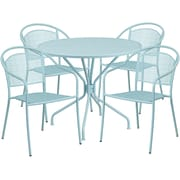 35.25'' Round Sky Blue Indoor-Outdoor Steel Patio Table Set with 4 Round Back Chairs [CO-35RD-03CHR4-SKY-GG]