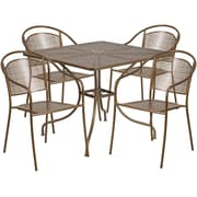 35.5'' Square Gold Indoor-Outdoor Steel Patio Table Set with 4 Round Back Chairs [CO-35SQ-03CHR4-GD-GG]