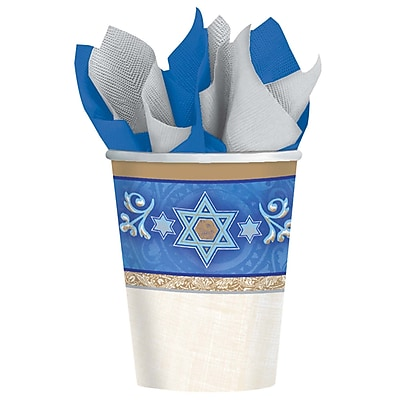 Amscan Judaic Traditions Paper Cup, 9oz, 5/Pack, 8 Per Pack (589940) 2502624