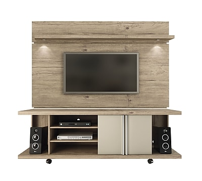 Manhattan Comfort Carnegie and Park 1.8 MDF TV Stand and TV Panel in Nature and Nude (2-1455581461) 2429491