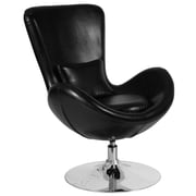 Black Leather Egg Series Reception-Lounge-Side Chair (CH-162430-BK-LEA-GG)