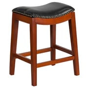 26'' High Backless Light Cherry Wood Counter Height Stool with Black Leather Seat (TA-411026-LC-GG)