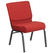 "21"" Extra Wide Red Fabric Church Chair with 4"" Thick Seat, Silvervein Finish and Ganging Clamps [FD-CH0221-4-SV-RED-GG]"