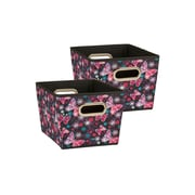 Household Essentials Small Tapered Bins, Black Butterfly, 2 Piece Set