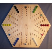 The Puzzle-Man Toys Wooden Marble Game Board - Aggravation - 20 In. Hexagon - 6-Player 6-Hole - Hard Maple (Crwp392)