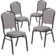 4 Pack Crown Back Stacking Banquet Chair with Herringbone Fabric and Thick Seat - Silver Frame [4-FD-C01-S-12-GG]