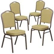 4 Pack Crown Back Stacking Banquet Chair with Navy Fabric and Thick Seat - Silver Frame [4-FD-C01-S-2-GG]
