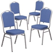4 Pack Crown Back Stacking Banquet Chair with Blue Fabric and Thick Seat - Silver Frame [4-FD-C01-S-7-GG]