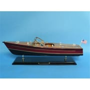 Handcrafted Model Ships Chris Craft Dual Cockpit 20 In. Decorative Speed Boat (Hdfm2174)