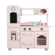 Teamson Design Wooden Cottage 1 Piece Kitchen Pretend Role Play Cooker Chef Toy, Pink (Tmsn447)