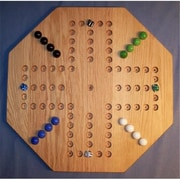 The Puzzle-Man Toys Wooden Marble Game Board - Aggravation - 20 In. Octagon - 4-Player 6-Hole - Red Oak (Crwp400)