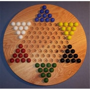 The Puzzle-Man Toys Wooden Marble Game Board - Chinese Checkers Oiled 18 In. Circle - Red Oak (Crwp358)