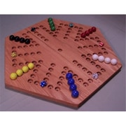 The Puzzle-Man Toys Wooden Marble Game Board - Aggravation - 18 In. Hexagon - 6-Player 5-Hole - Red Oak (Crwp368)