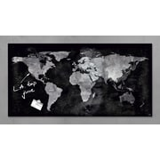"""Sigel 36"""" x 18"""" Contemporary Magnetic Glass Board, World Map"""