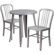 24'' Round Silver Metal Indoor-Outdoor Table Set with 2 Vertical Slat Back Chairs [CH-51080TH-2-18VRT-SIL-GG]