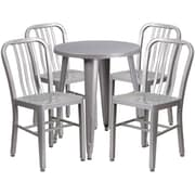 24'' Round Silver Metal Indoor-Outdoor Table Set with 4 Vertical Slat Back Chairs [CH-51080TH-4-18VRT-SIL-GG]