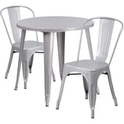 30'' Round Silver Metal Indoor-Outdoor Table Set with 2 Cafe Chairs [CH-51090TH-2-18CAFE-SIL-GG]