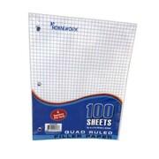 DDI Quad Ruled Filler Paper - 100 Sheet - 10.5 in. x 8 in. Case Of 36 (DLRDY245899)
