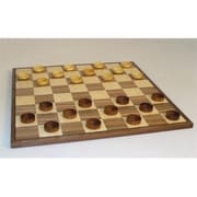 Chopra 15 in. Wood Sheesham-Boxwood Checkers on Walnut-Maple Veneer Inlaid Board (WWI073)