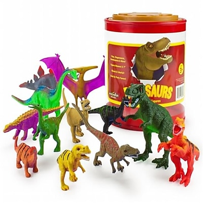 Brybelly Set of 12 Large 7in Dinosaur Assortment with Storage Drum( RTL59230) 2512512