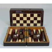 Worldwise Imports 10 in. Simple wood Grain with Chess Board - Decoupage Wood Backgammon (WWI1876)