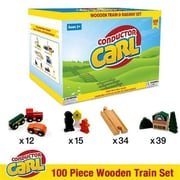 Conductor Carl Wooden Train Conductor Carl 100 Piece Wooden Train Set (BB-GDIC-1304)