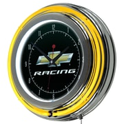 Chevrolet Chrome Double Rung Neon Clock - Chevy Racing (190836246700)