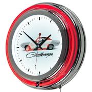 Dodge Chrome Double Rung Neon Clock - Challenger Stripe (886511980624)