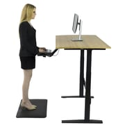 Uncaged Ergonomics Rise Up Electric Adjustable Height Standing Desk with Natural Bamboo Desktop Gray Frame, Black Desktop (RUbb)