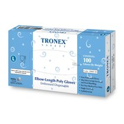 "Tronex Polyethylene Disposable Gloves, 18"" Elbow-Length, Gray (2800-30)"