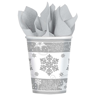 Amscan Sparkling Snowflake Paper Cup, 9oz, 5/Pack, 8 Per Pack (581559) 2536859