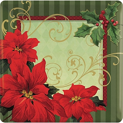 """""Amscan Vintage Poinsettia Square Paper Plate, 10"""""""" x 10"""""""", 3/Pack, 18 Per Pack (729543)"""""" 2537278"